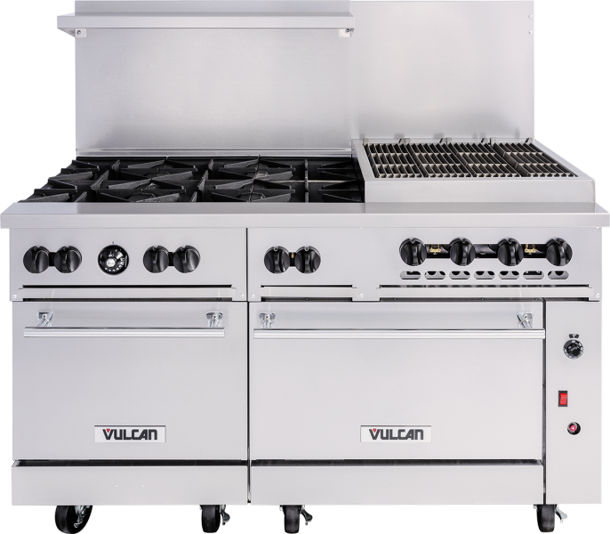 Endurance Series Stainless Steel 60 Gas Range 6 30 000 Btu Burners And 24 Charbroiler With 1 Standard Oven Convection